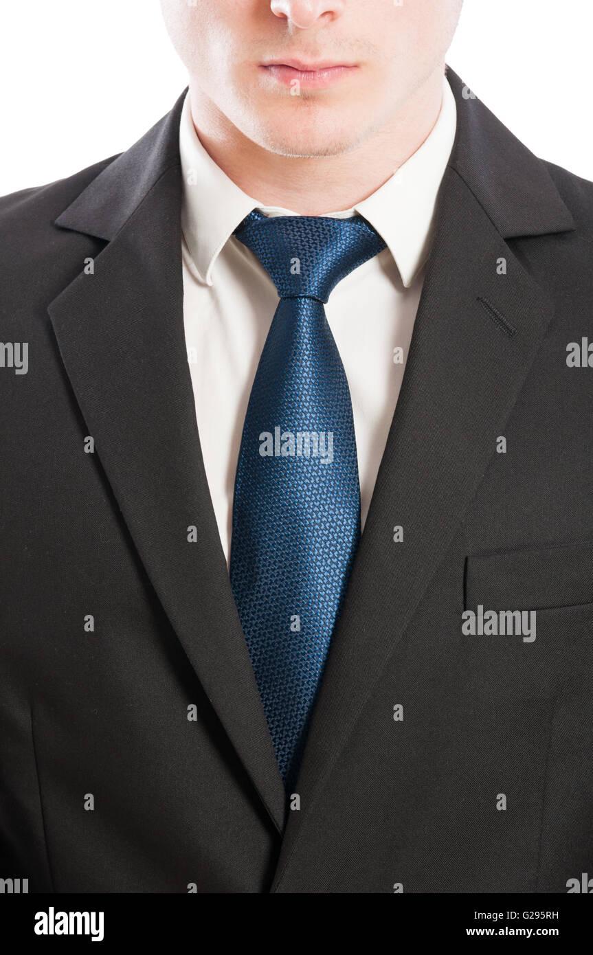 Buisness uomo tie, colletto bianco e black suit closeup concetto Immagini Stock