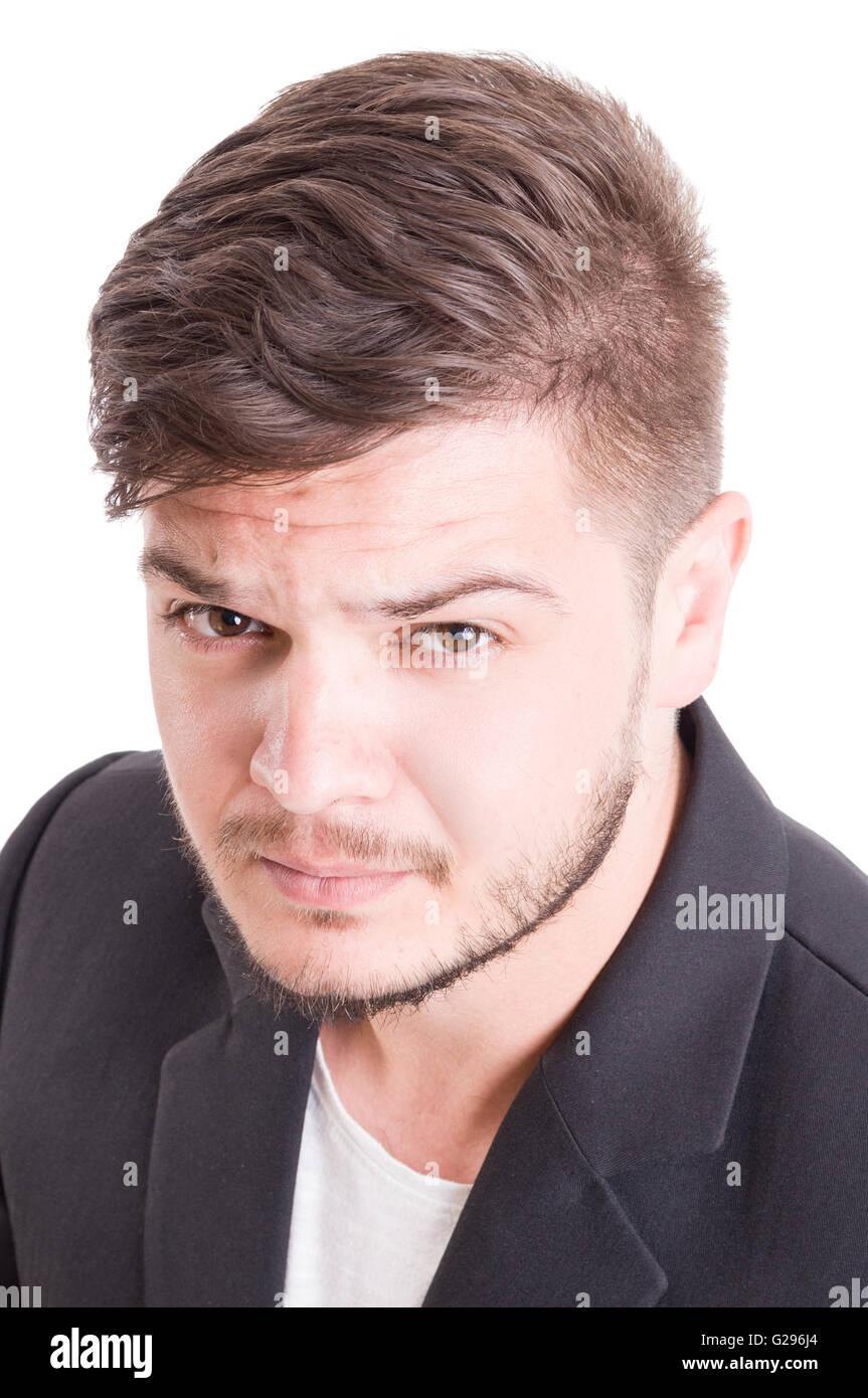 Portret di un giovane maschio modello su bianco di sfondo per studio Immagini Stock