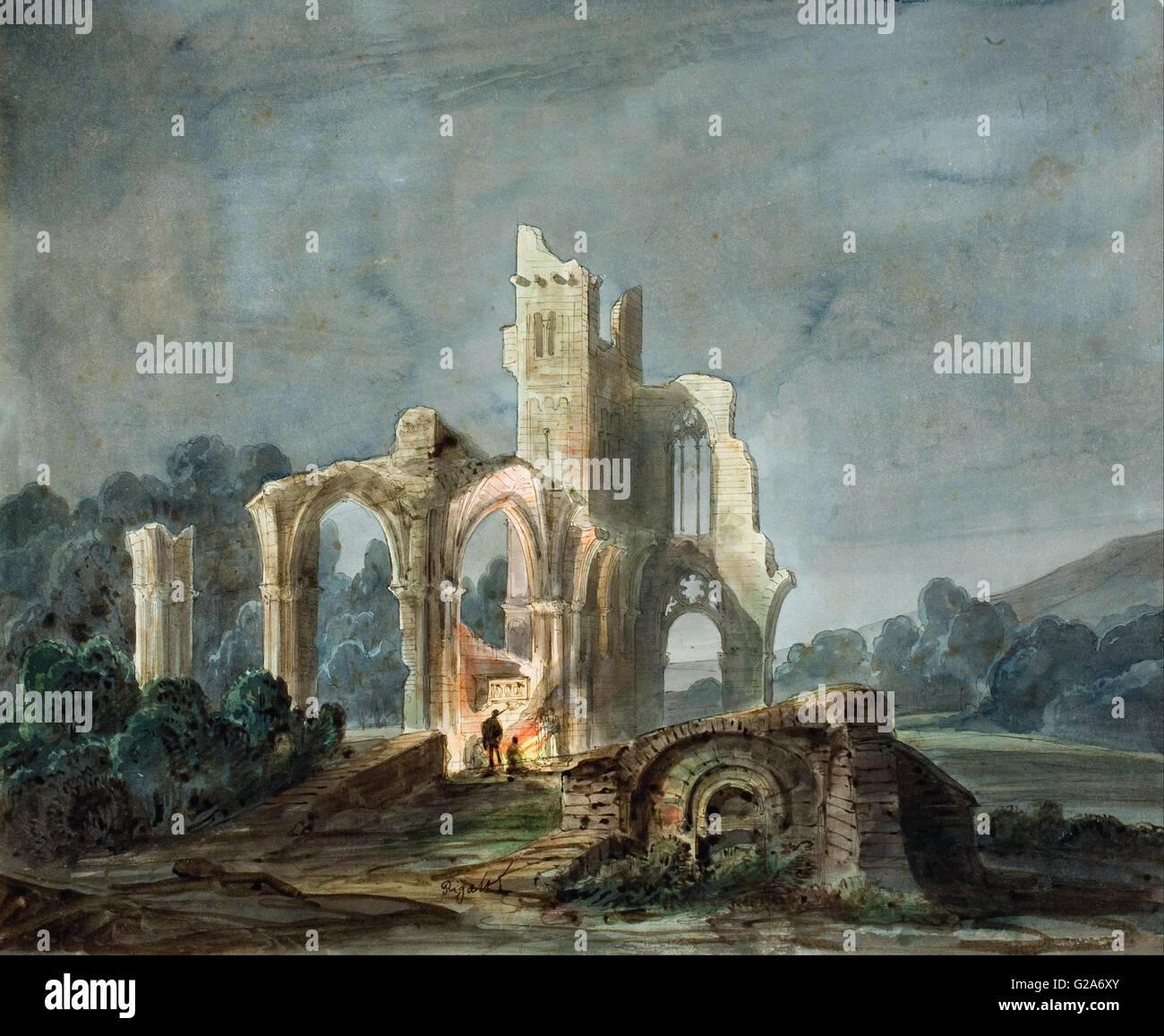 Lluís Rigalt - Paesaggio notturno con rovine gotiche - MNAC - Barcellona Immagini Stock