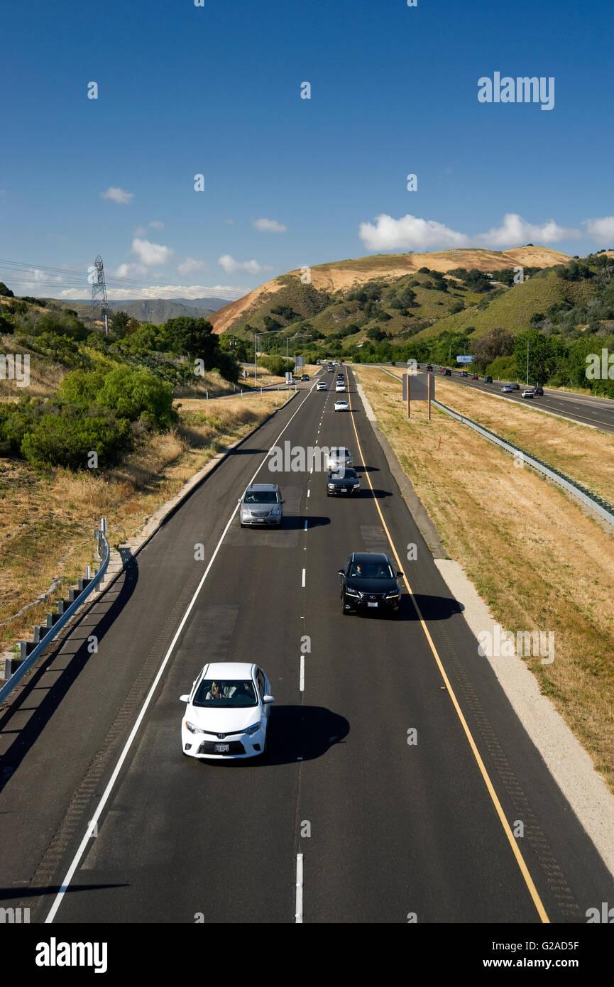 La superstrada 101 in California centrale vicino a San Luis Obispo Immagini Stock