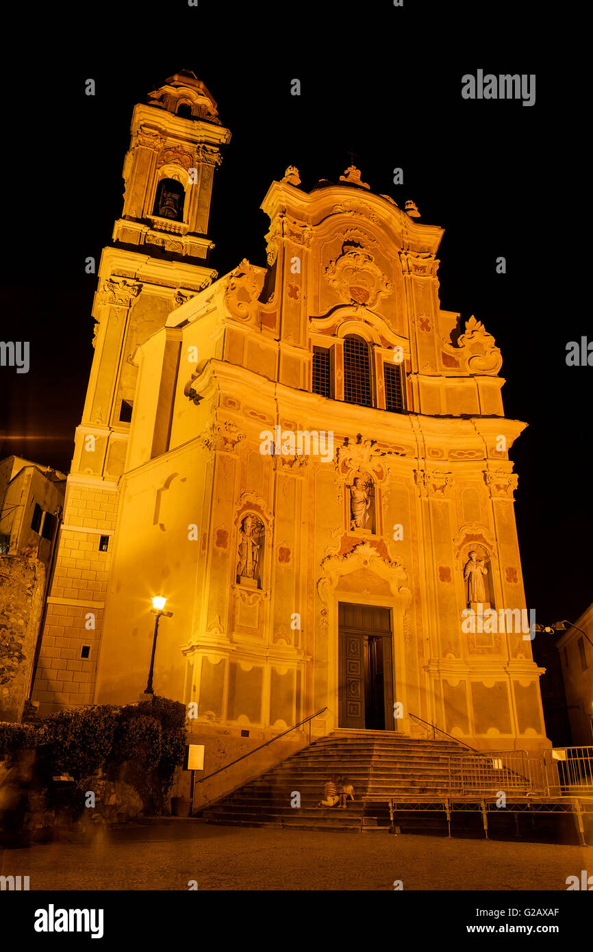 Chiesa Parrocchiale di San Giovanni Battista la notte Foto Stock