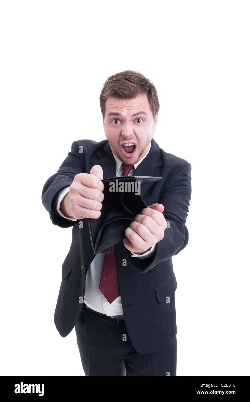 Imprenditore in fallimento, commercialista o manager finanziario concetto con uomo che mostra portafoglio vuoto Immagini Stock