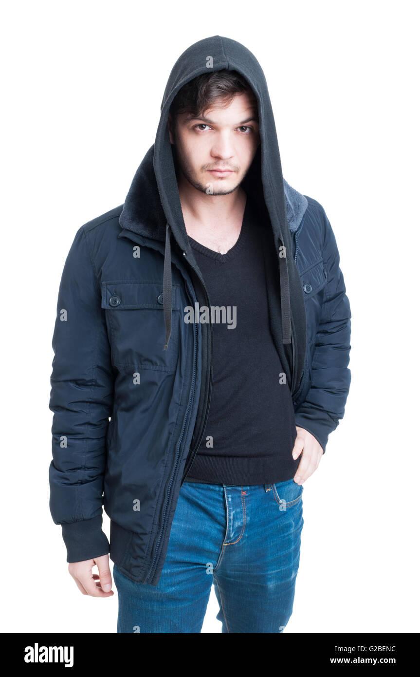 quality design 87317 b7e74 Bel maschio alla moda indossando felpa con cappuccio, giacca ...