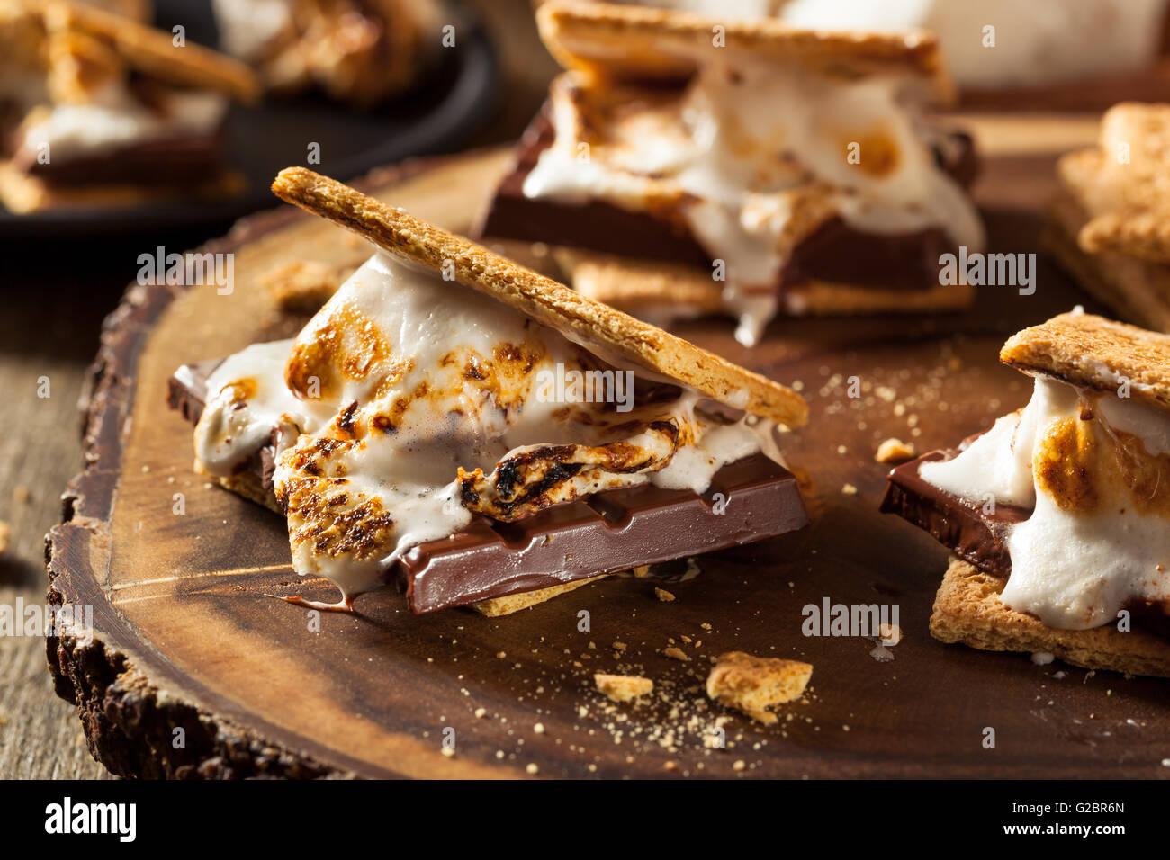 In casa Gooey Marshmallow s'more con il cioccolato Immagini Stock