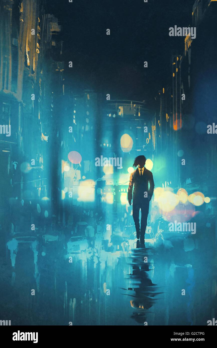Uomo a camminare di notte su strada bagnata, illustrazione Immagini Stock