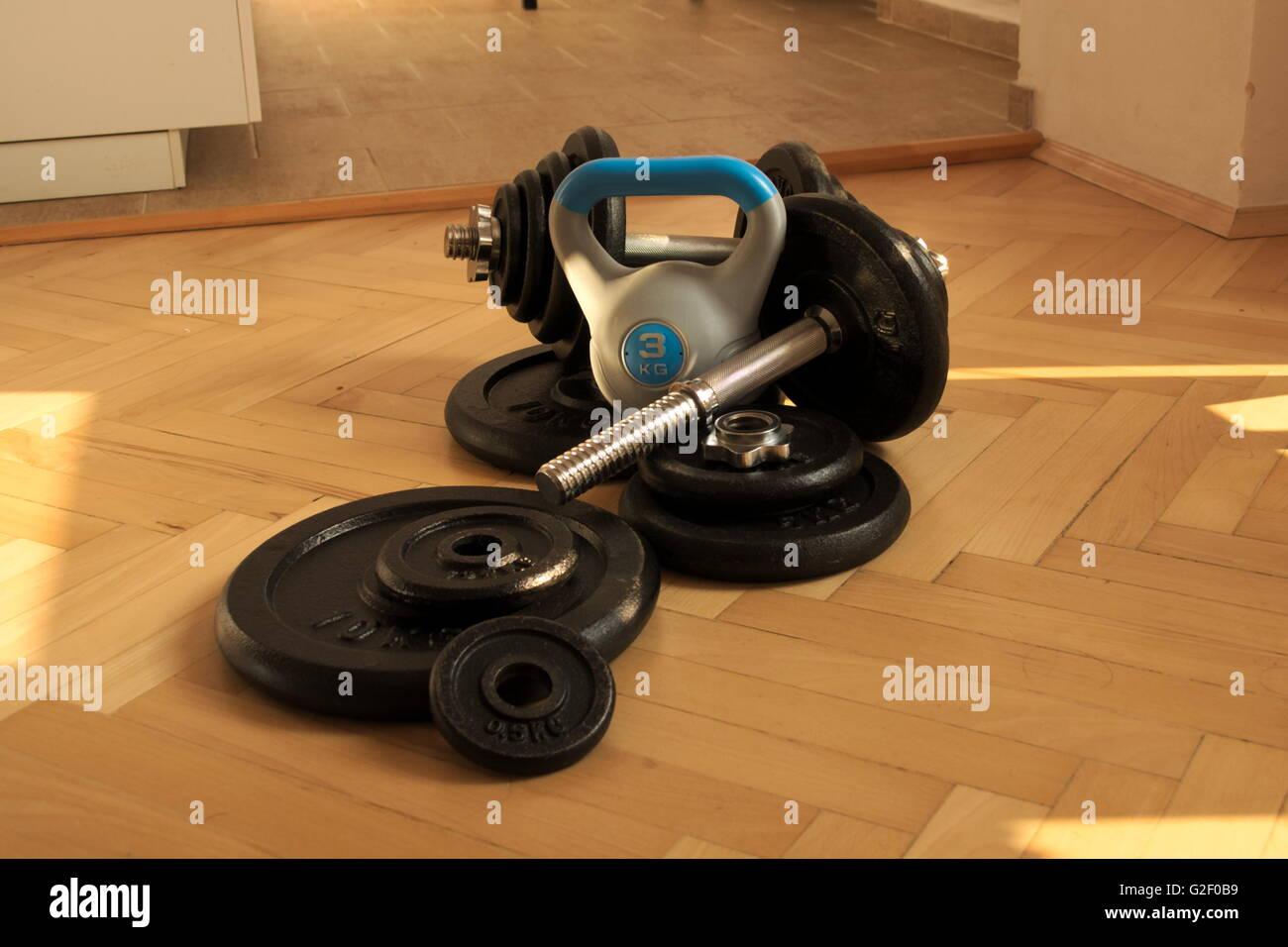Utensili per la casa bodybuilding e fitness bollitore bell Immagini Stock
