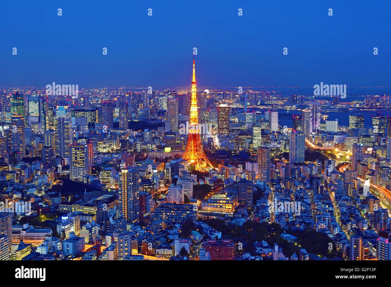 In generale lo skyline della città vista notturna con la Torre di Tokyo di Tokyo, Giappone Immagini Stock