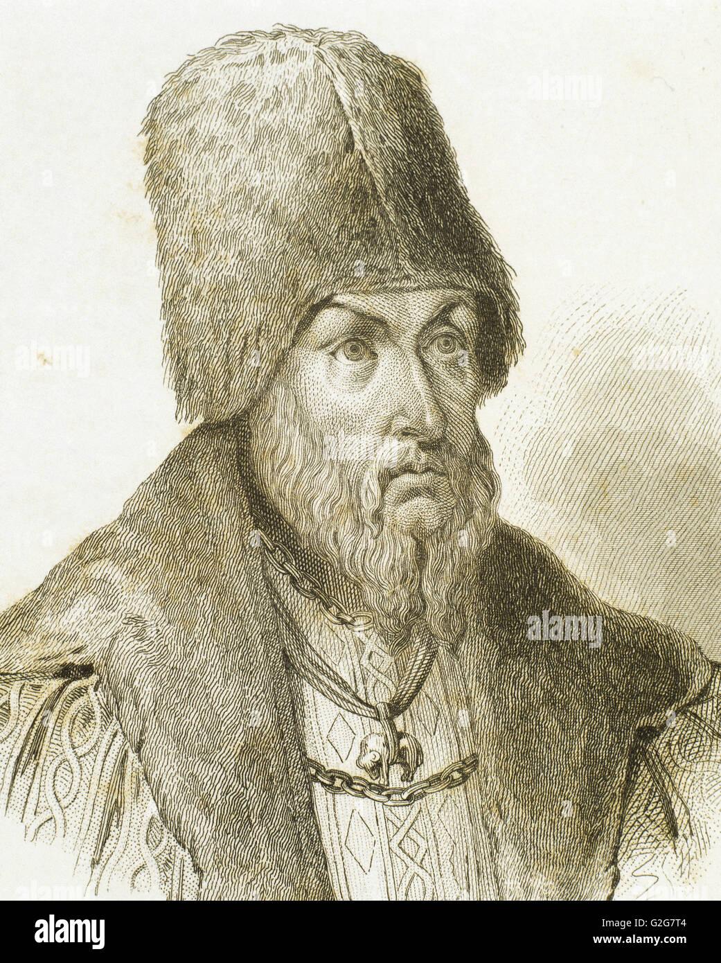 Sigismondo I il Vecchio (1467-1548). Re di Polonia e granduca di Lituania. Ritratto. Incisione del XIX secolo. Foto Stock