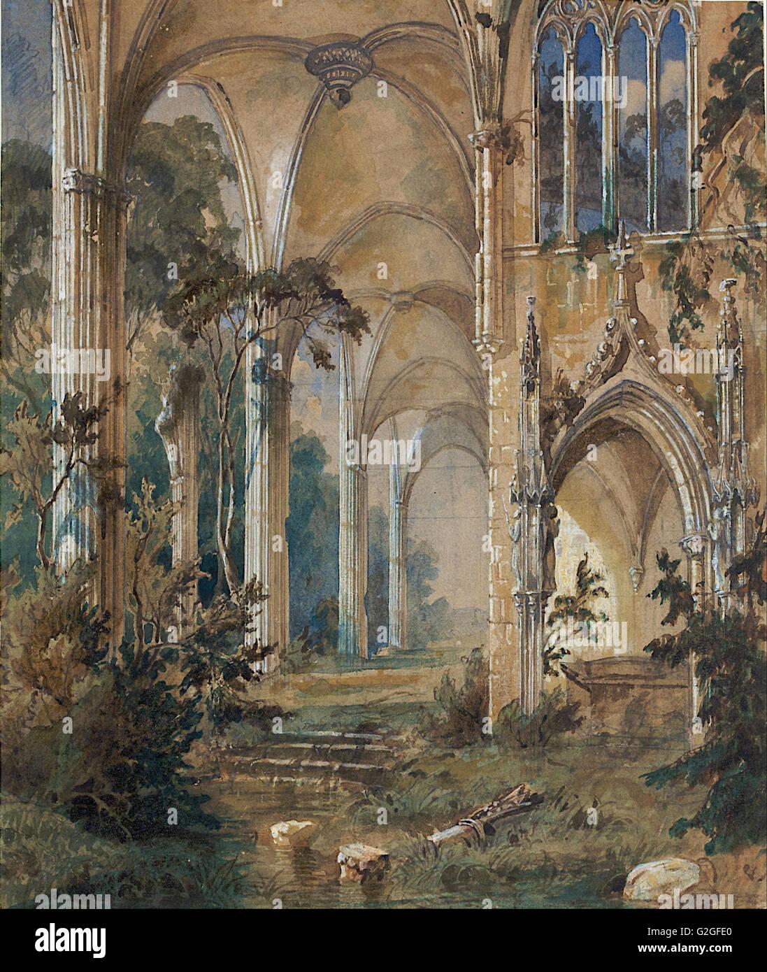 Carl Blechen - chiesa gotica rovina - Museo Kunstpalast, Düsseldorf Immagini Stock