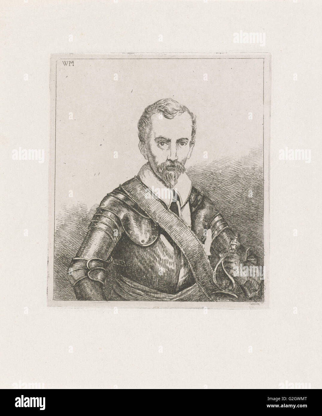 Uomo in armatura con la spada, stampa maker: Christiaan Wilhelmus Moorrees, 1811 - 1867 Immagini Stock