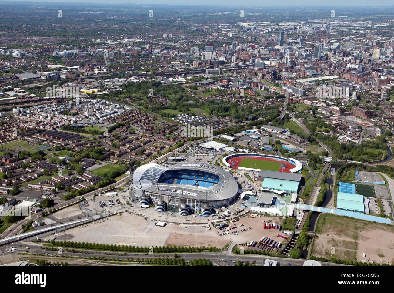 Vista aerea del Manchester City Football Academy, Etihad Stadium e Manchester centro regionale, REGNO UNITO Immagini Stock
