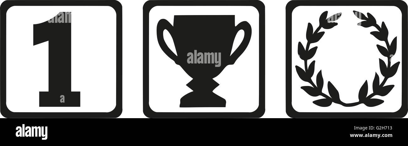 Vincitore icone - numero uno, trofeo e corona di alloro Foto Stock
