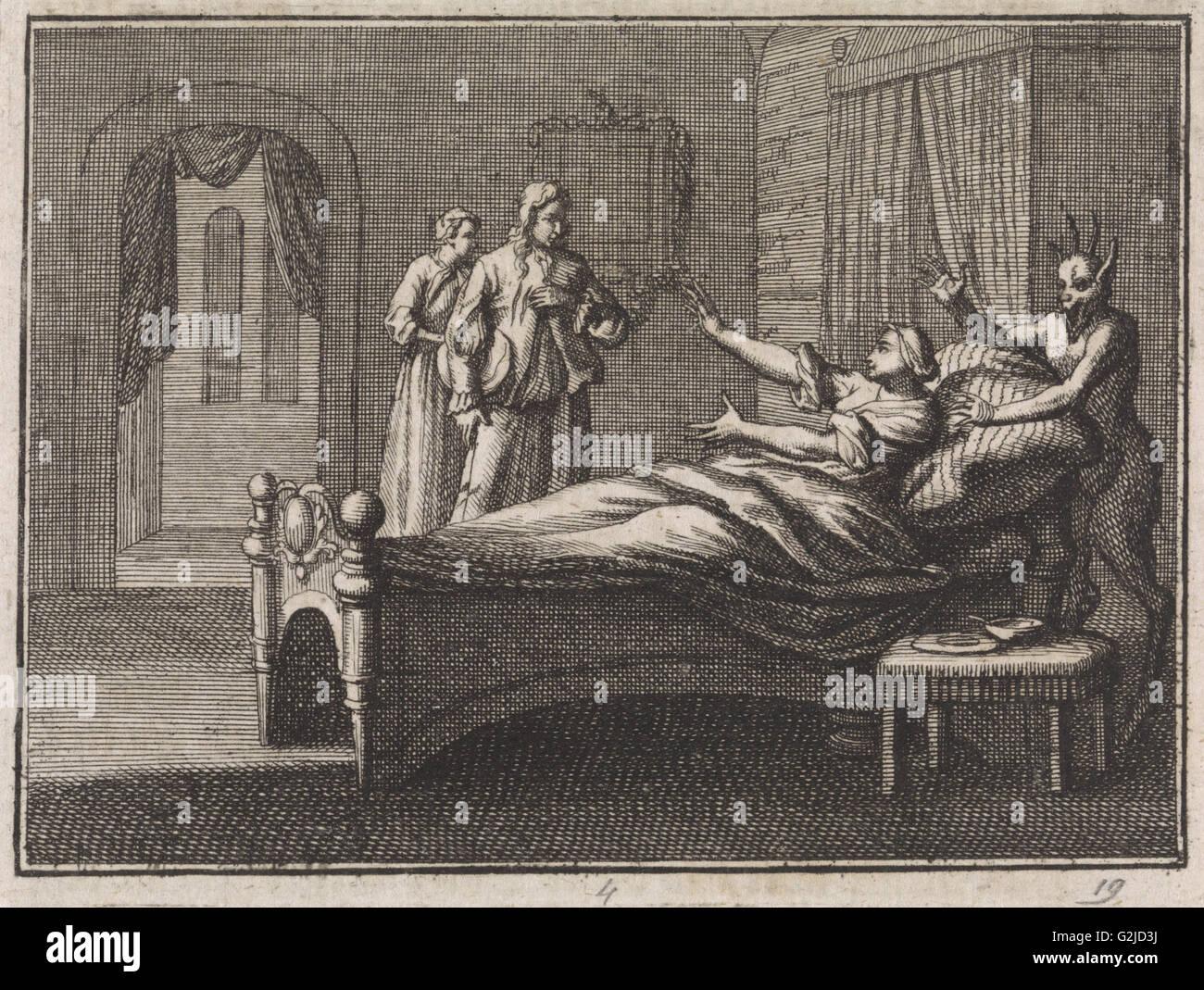 Malata riceve la sua amante, Caspar Luyken, Christoph Weigel, 1704 Immagini Stock