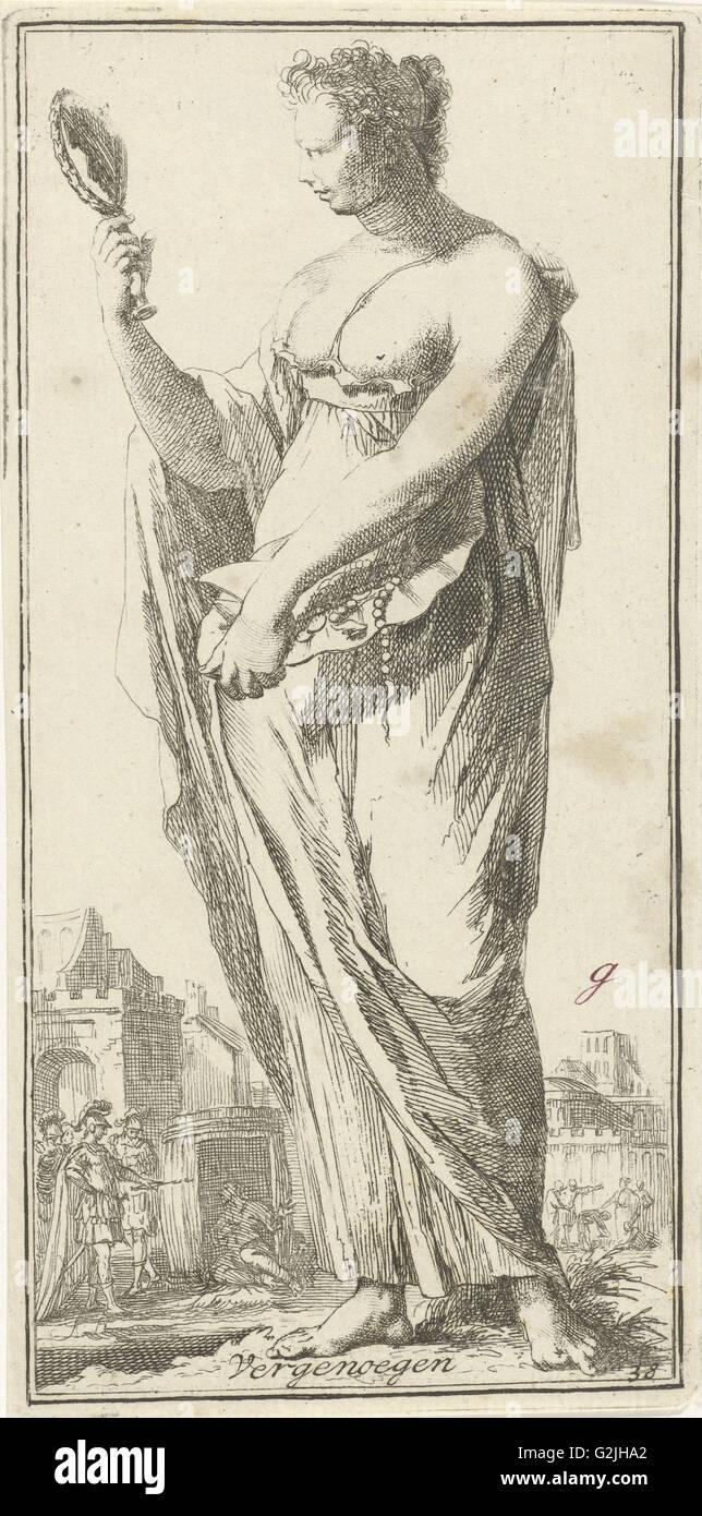Personificazione della soddisfazione, Arnold Houbraken, 1710 - 1719 Immagini Stock