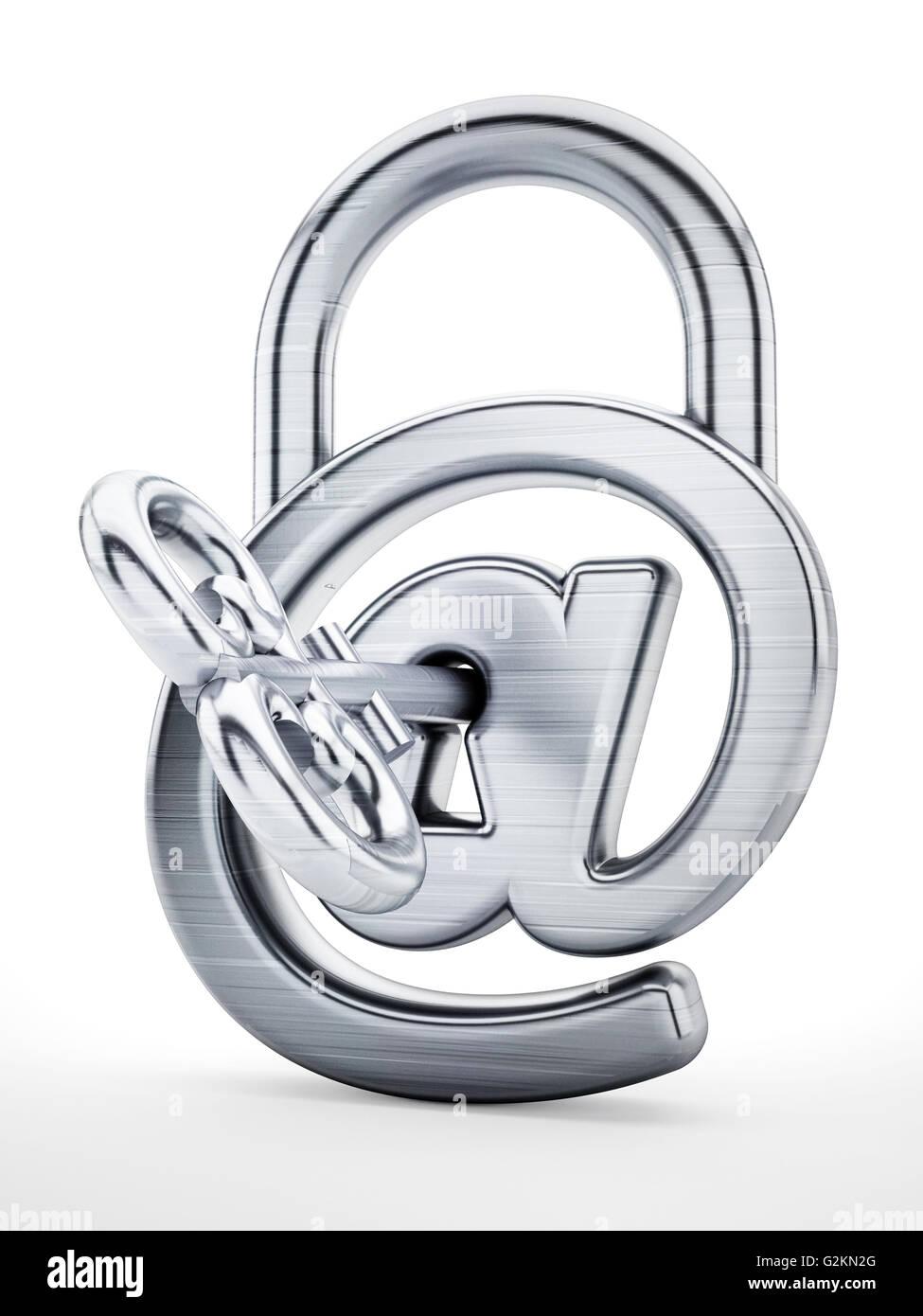Il lucchetto con simbolo di internet e la chiave. 3D'illustrazione. Immagini Stock
