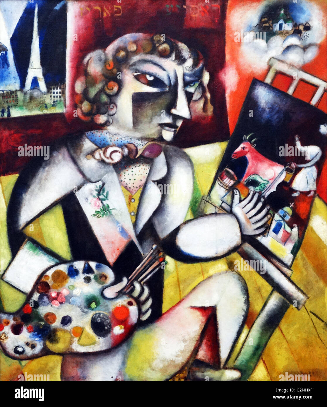 Autoritratto con sette dita di Marc Chagall Immagini Stock