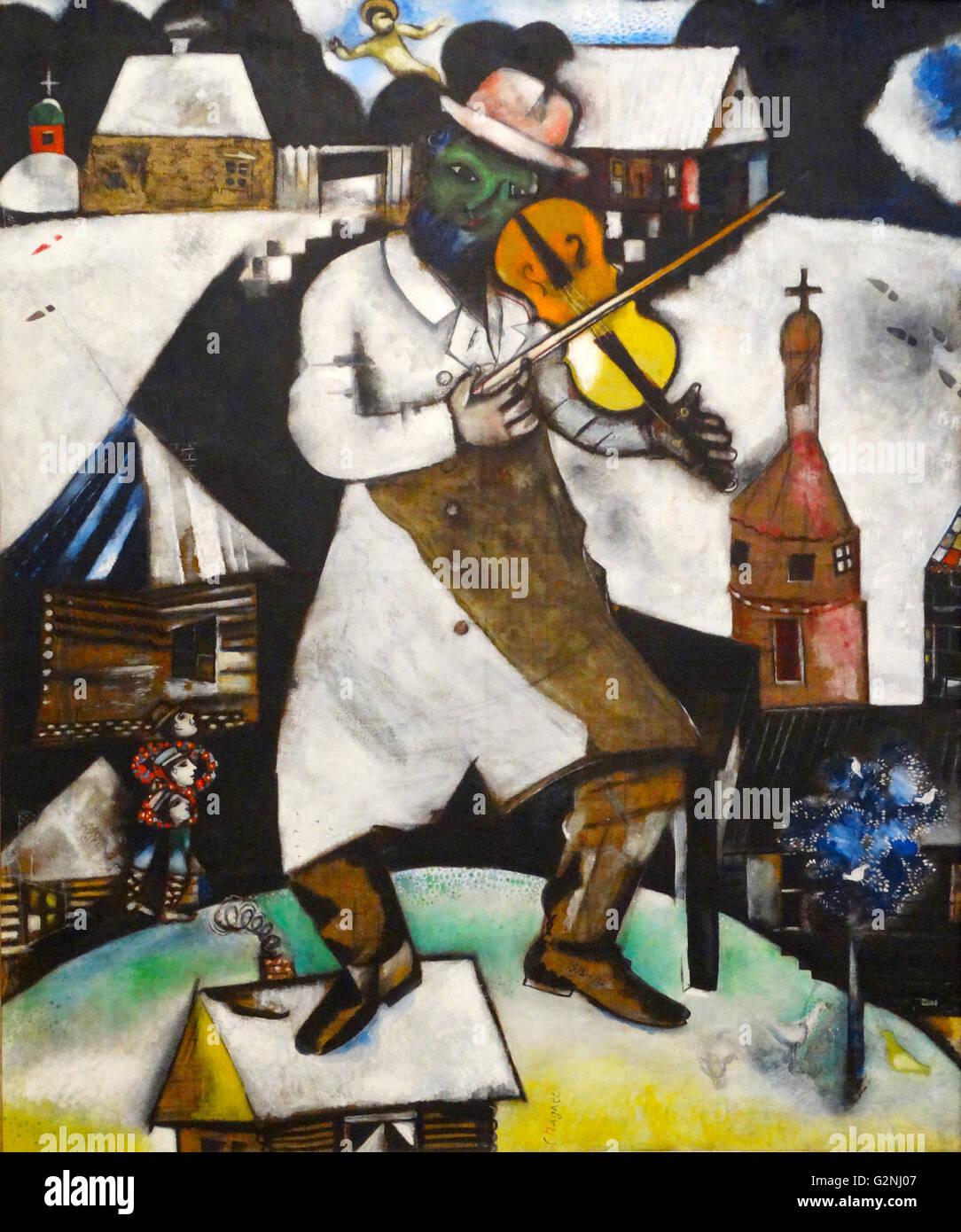 Il Fiddler di Marc Chagall Immagini Stock