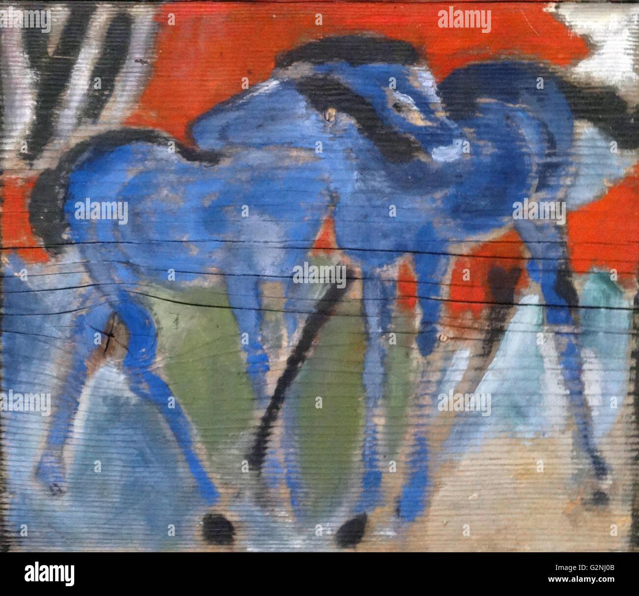 Puledri blu da Franz Marc Immagini Stock