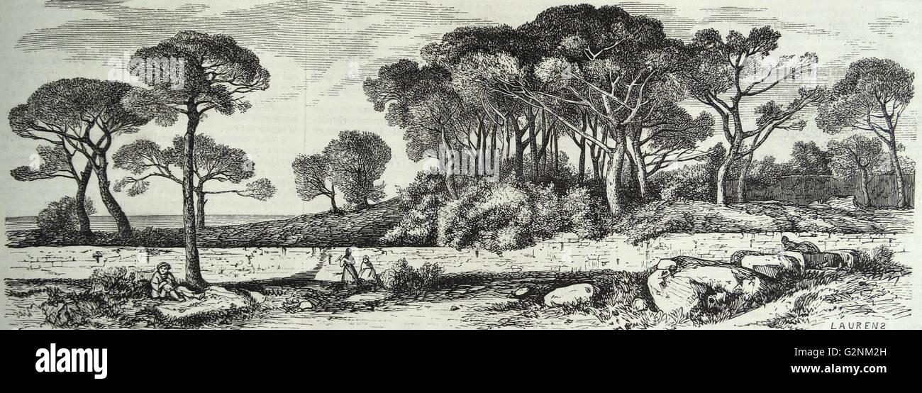 Paese di scena in Francia 1853 Immagini Stock