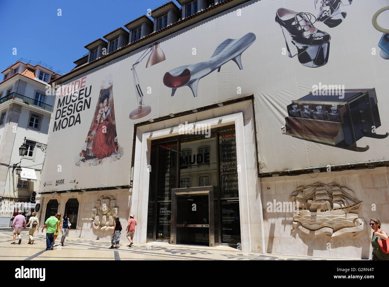 Mude- Museo del design moda su Rua Augusta nella parte vecchia della città di Lisbona. Immagini Stock