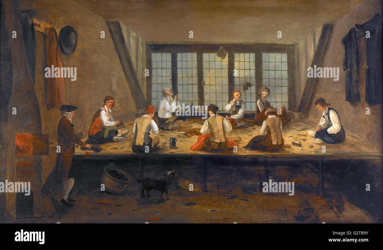 Pittura; olio su tela - Interno della Sartoria - Immagini Stock
