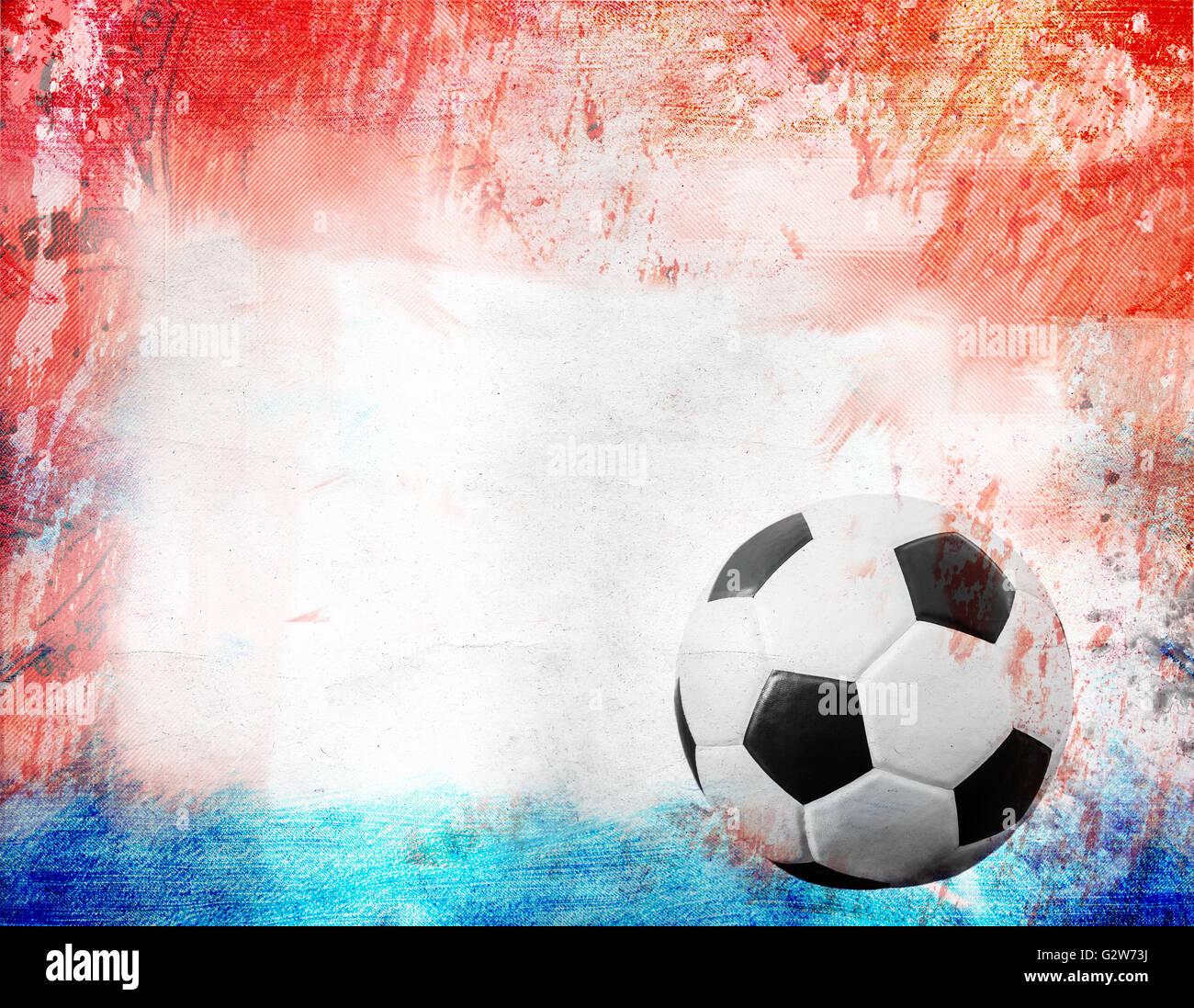Pallone Da Calcio Su Rossoblu E Sfondo Bianco Foto Immagine Stock