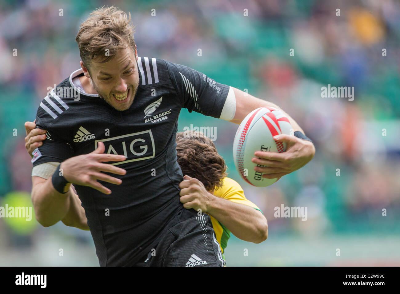 Londra, Gran Bretagna. 21 Maggio, 2016. Tim Mikkelson (Nuova Zelanda) in azione durante la HSBC London Sevens Rugby Immagini Stock