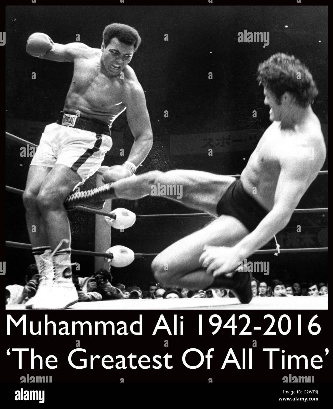 Tokyo, Giappone. Il 26 giugno, 1976. File. Il 3 giugno, 2016. MUHAMMAD ALI, il tempo tre Heavyweight Boxing champion, Foto Stock