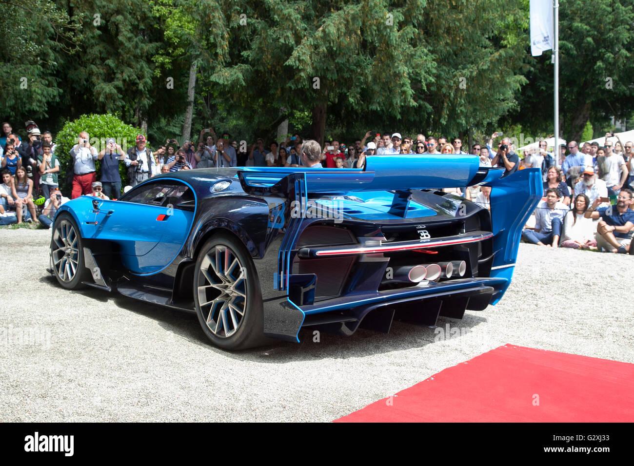 Bugatti Vision Gran Turismo concept car a Villa D'Este concourse auto show di Como Italia 2016 Immagini Stock