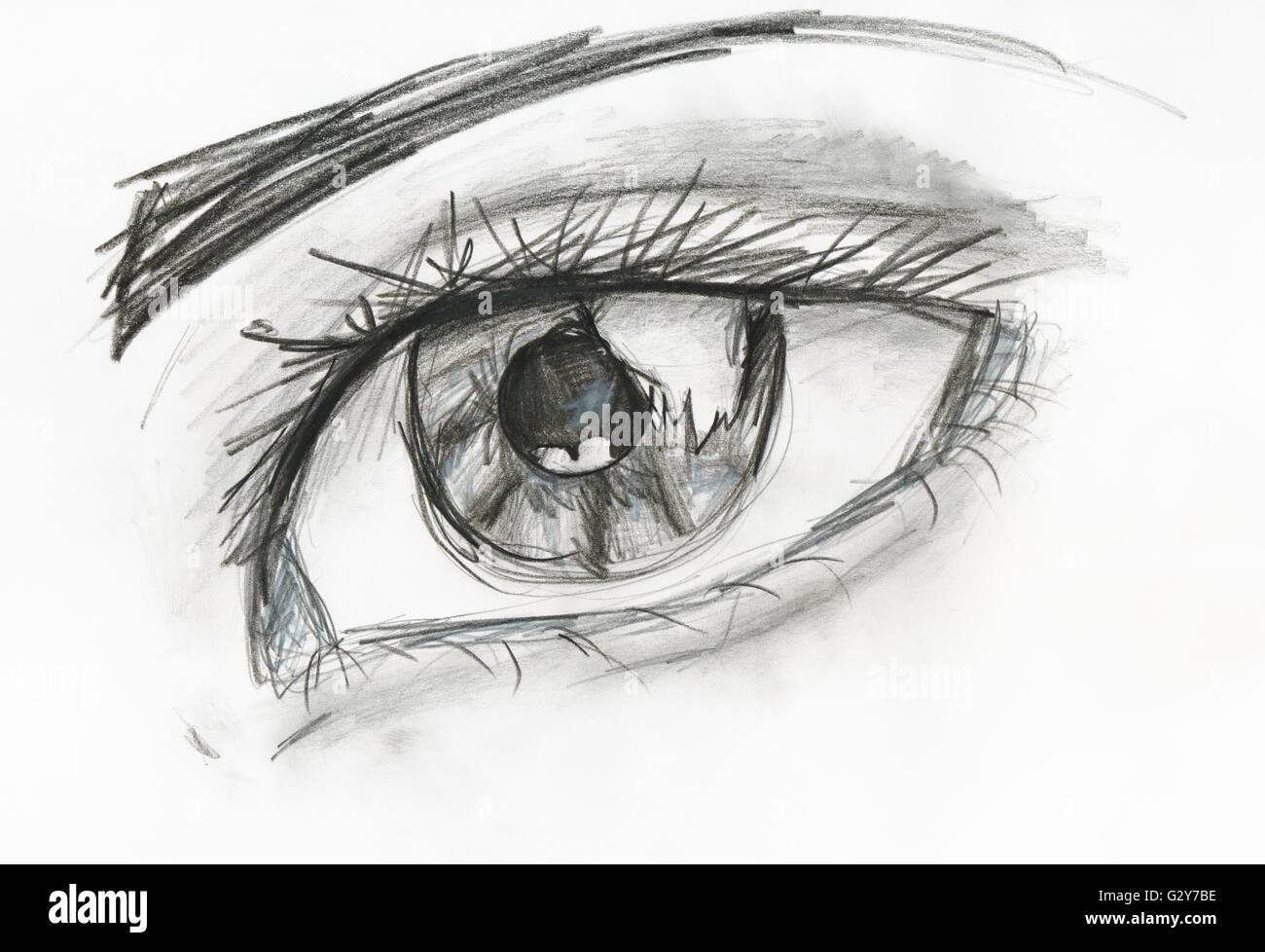 Bambino Disegno Di Immagine In Bianco E Nero Di Occhio