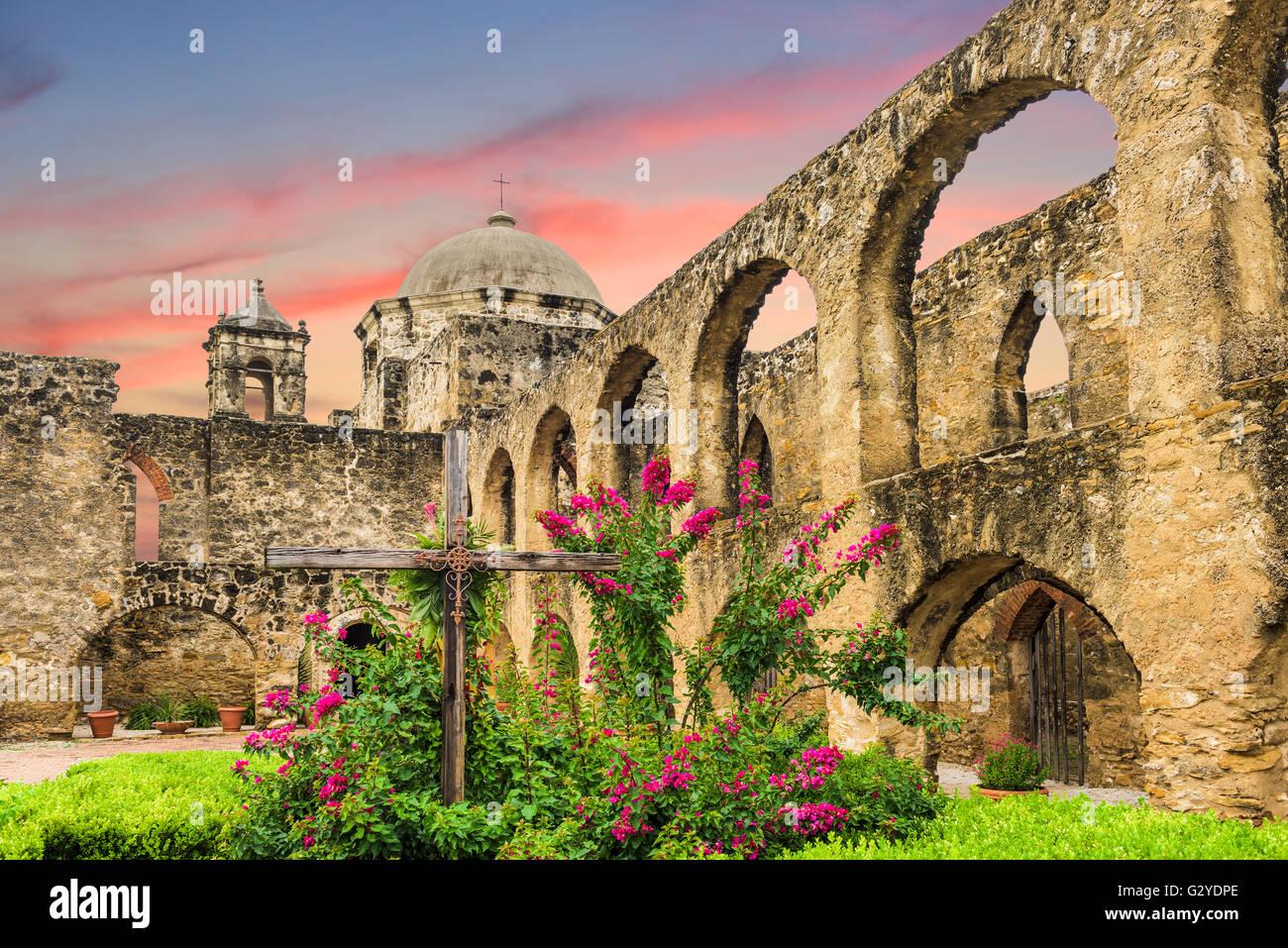 La missione di San Jose di San Antonio, Texas, Stati Uniti d'America. Immagini Stock