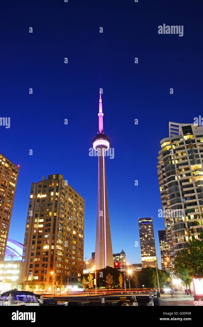 CN tower di notte , Toronto, Canada Immagini Stock