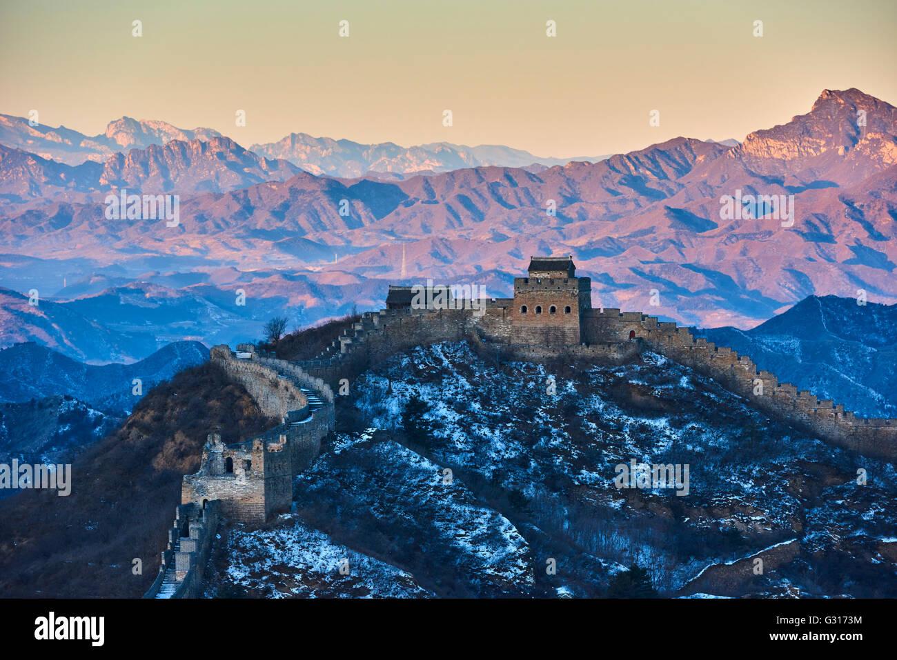 La Cina, nella provincia di Hebei, la Grande Muraglia della Cina, Jinshanling e Simatai sezione, Patrimonio Mondiale Immagini Stock