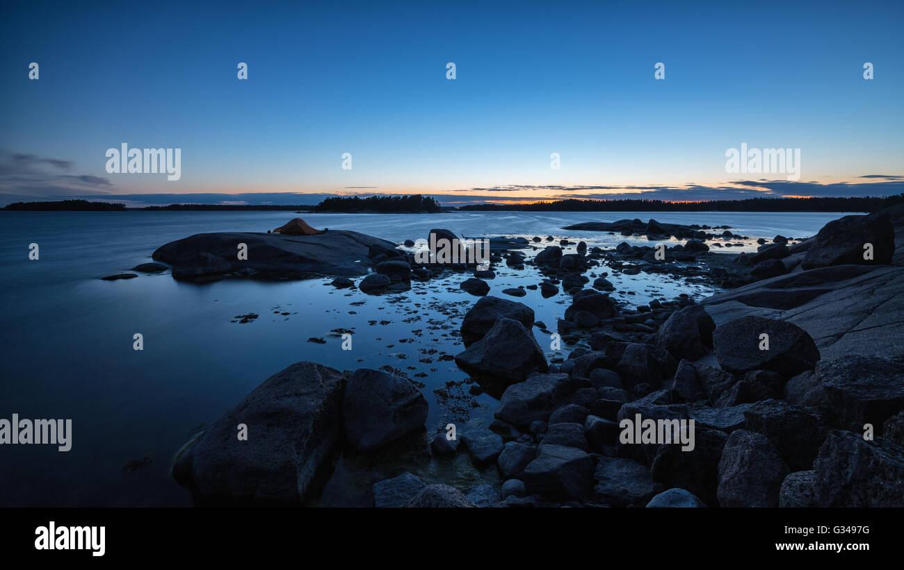 Notte a Onas isola, Porvoo, Finlandia, Europa, UE Immagini Stock