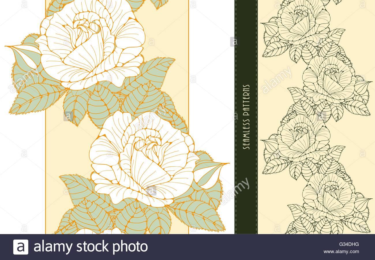 Un set di romantico stile inglese e carta da parati floreale bande