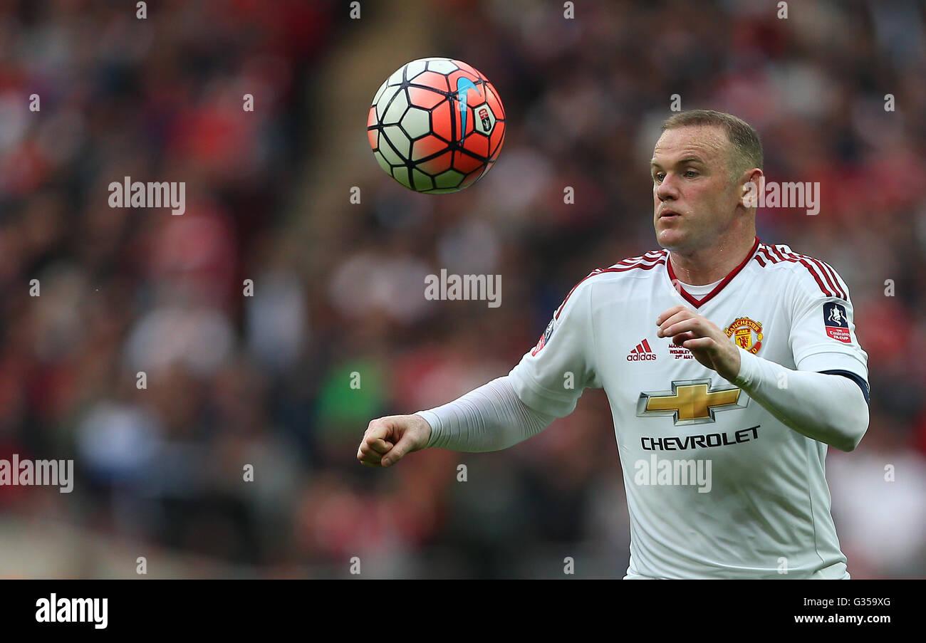 Wayne Rooney del Manchester United in azione durante la Emirates finale di FA Cup tra Crystal Palace e il Manchester Immagini Stock