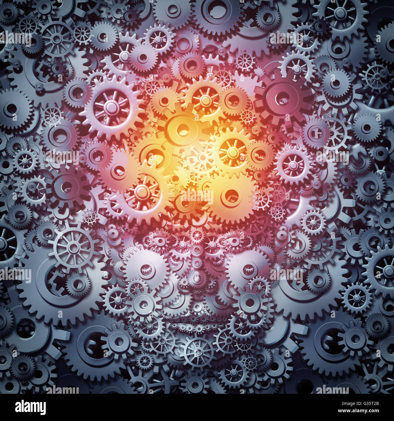 Risorse umane business intelligence concept come una mente e un fronte macchina fatta di ingranaggi e ruote dentate Foto Stock
