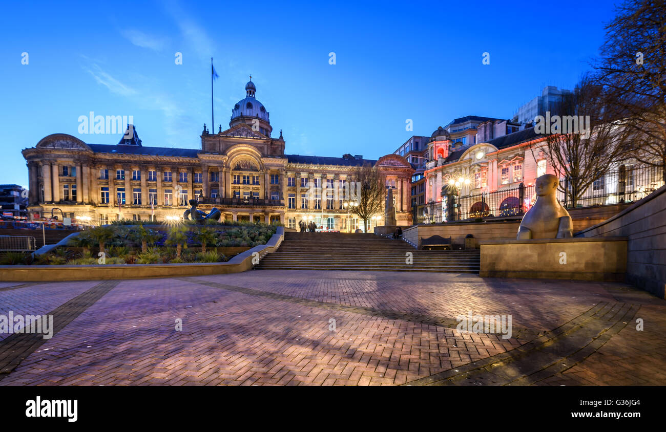 Birmingham Town Hall è stata anche la prima opera significativa del XIX secolo revival di architettura romana Immagini Stock