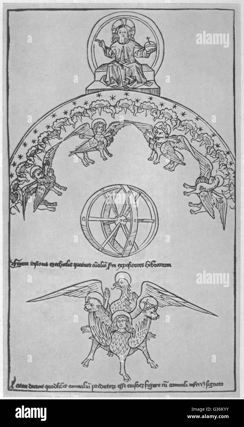 La visione di Ezechiele. Oggetto Volante non Identificato ha testimoniato dal profeta Ezechiele Immagini Stock