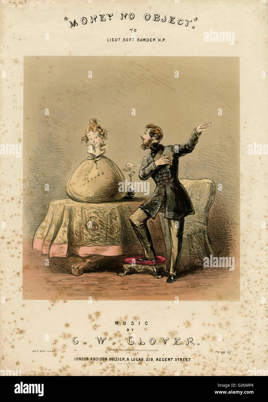 Il denaro non esiste alcun oggetto. La satira su sposando per denaro Data: circa 1850s Immagini Stock