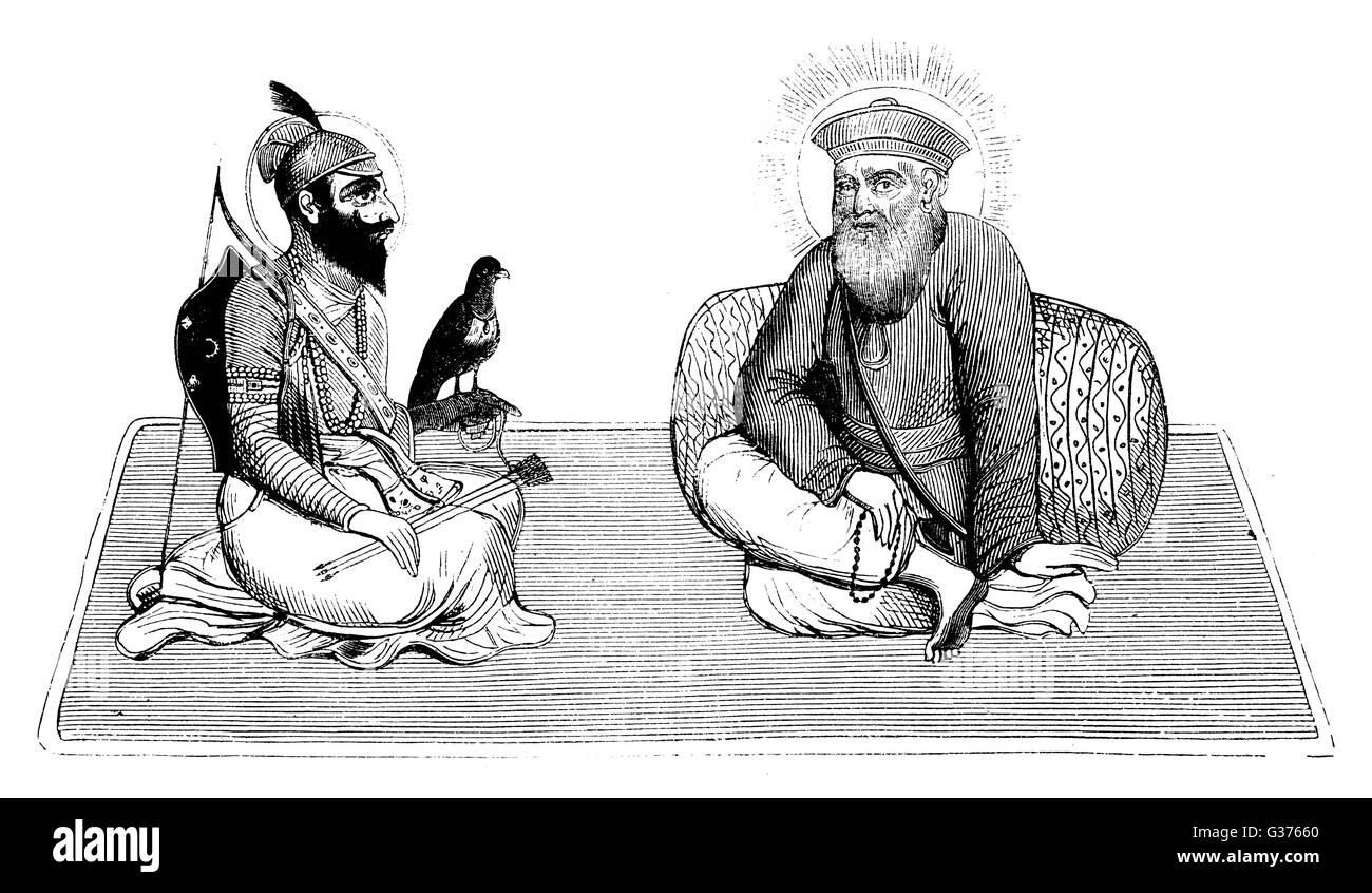Il guru NANEK DEV (destra) fondatore della religione Sikh, qui illustrato con GOVIND Singh (1666 - 1708), il decimo Immagini Stock