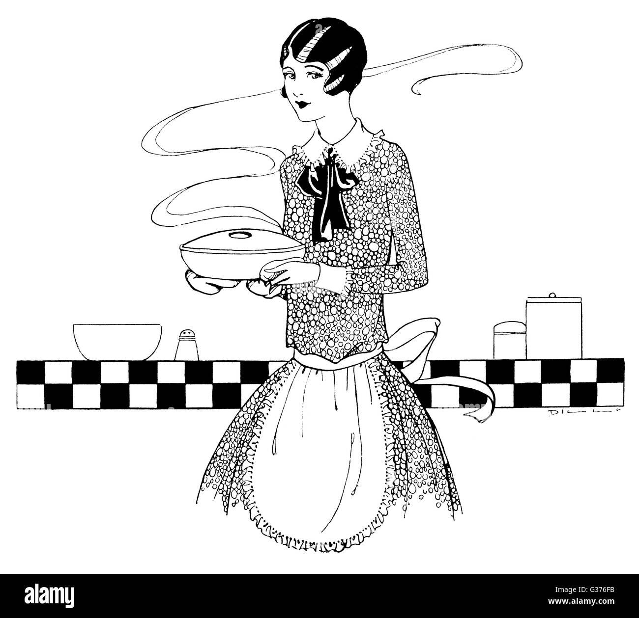 Ella porta la casseruola ha appena preparato e spera che la gente piace... Data: 1927 Immagini Stock