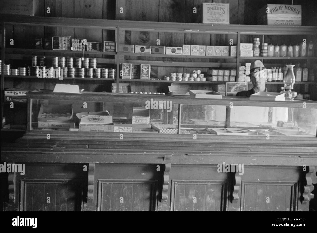 Store, Crabtree Creek progetto ricreativo, vicino a Raleigh, North Carolina. Data 1936 Mar. Immagini Stock