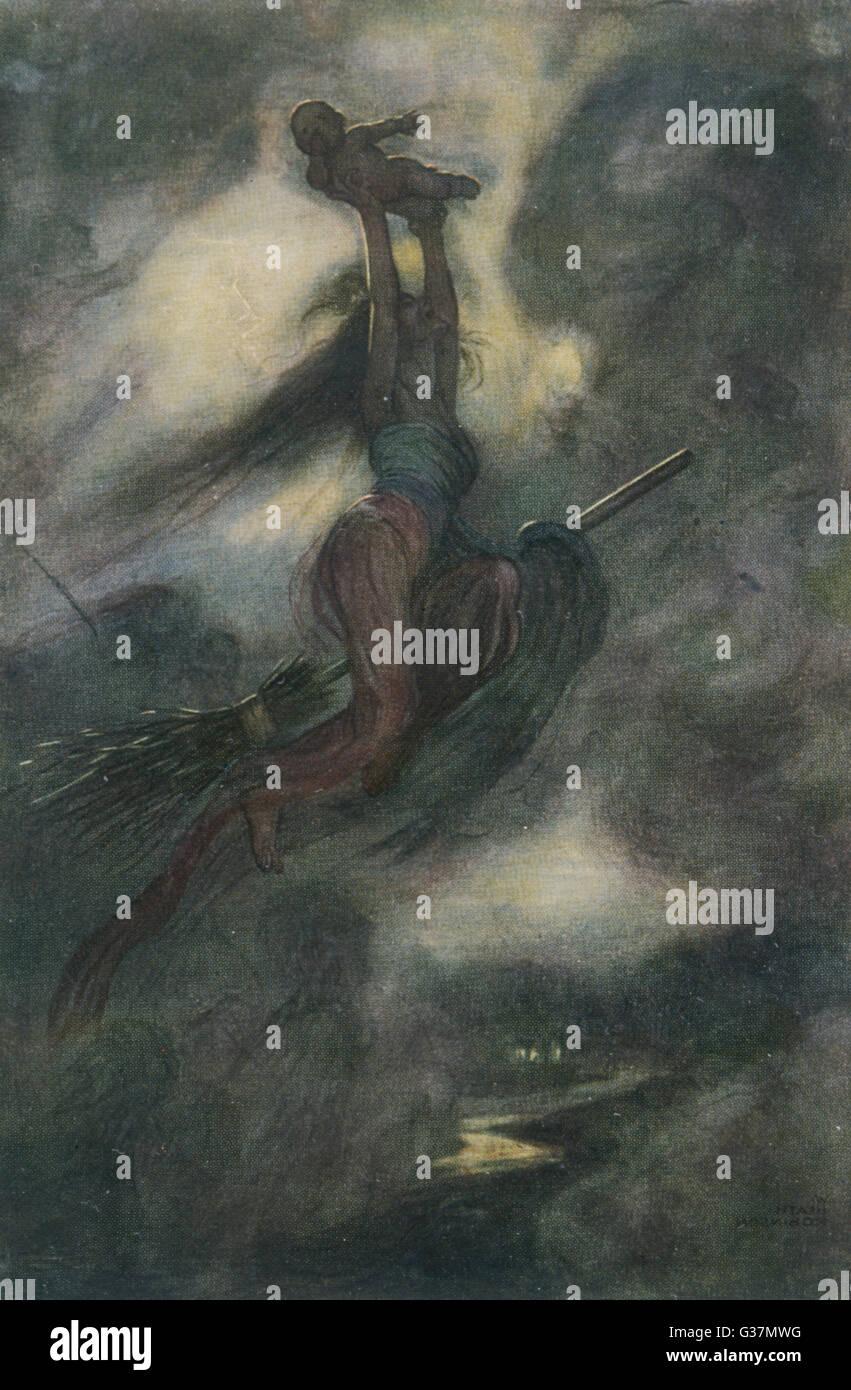 Una strega che rapisce un bambino piccolo e poi lo porta fuori sulla sua scopa. Data: 1908 Immagini Stock