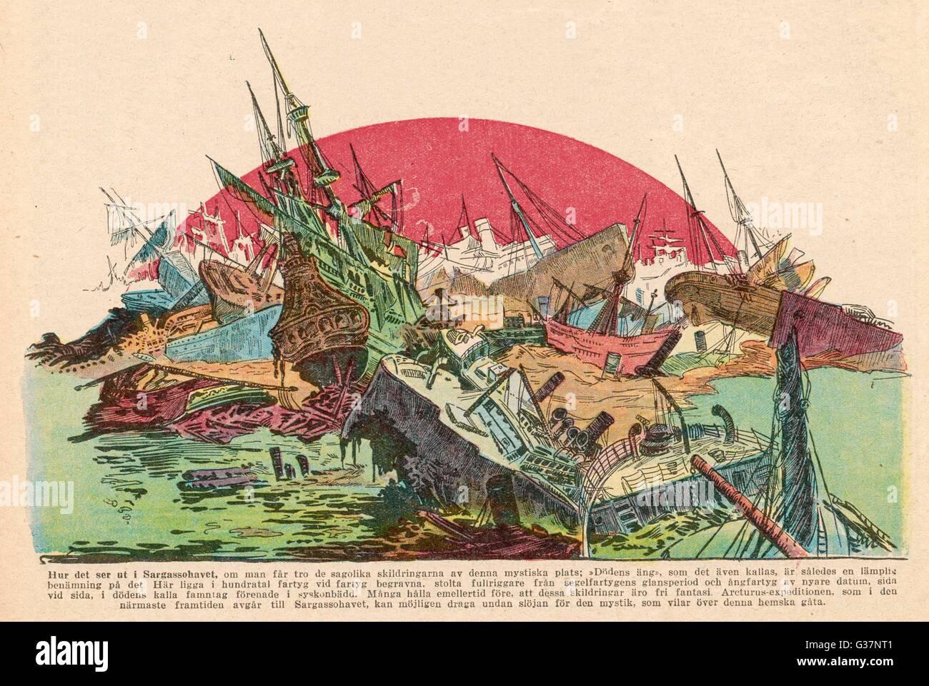 La leggenda del Mar dei Sargassi dove tutti i relitti dell'oceano a finire... Data: 1925 Immagini Stock
