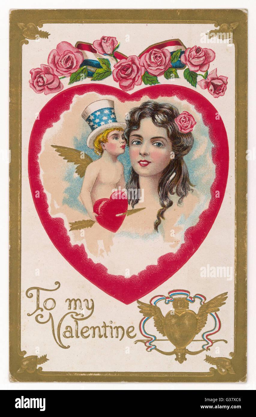 Cupido in un Yankee-Doodle hat sussurra in una ragazza in orecchio, mentre un frame di cuore i due di loro data: Immagini Stock
