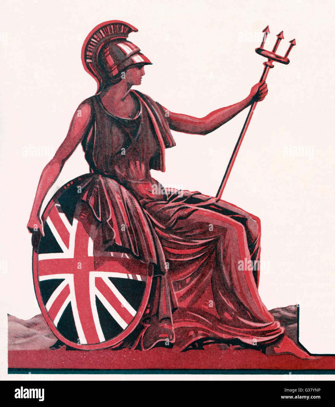 Britannia nel profilo con scudo e trident data: 1928 Immagini Stock