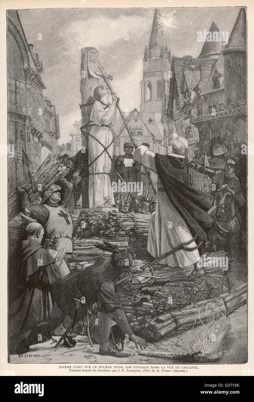 A Rouen, bacia il Crocifisso prima di essere bruciato sul rogo. Data: 1431 Immagini Stock