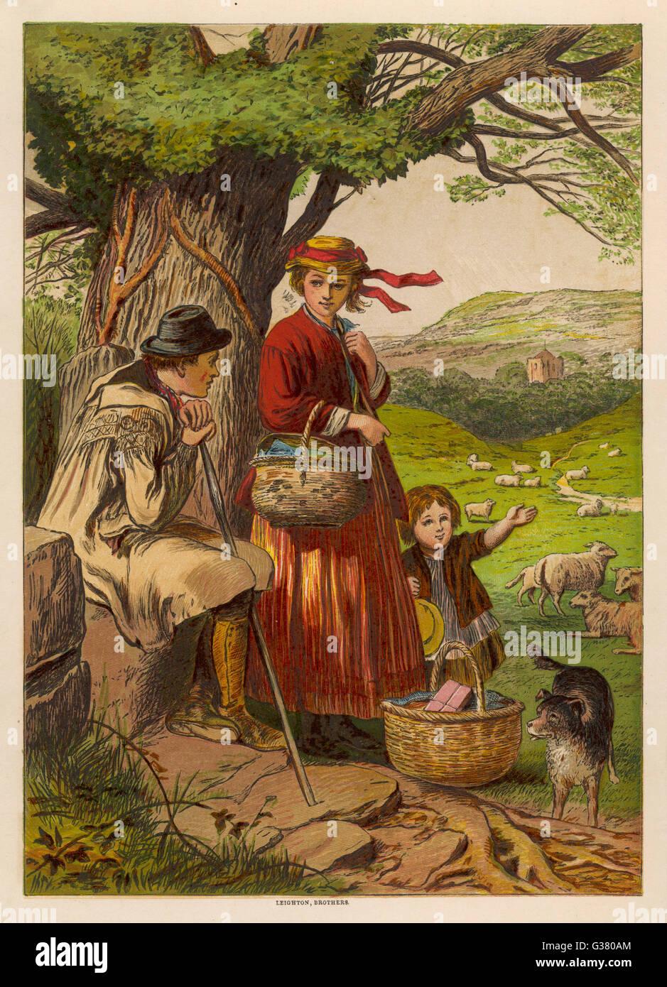 Paese folk andare al mercato data: 1869 Immagini Stock