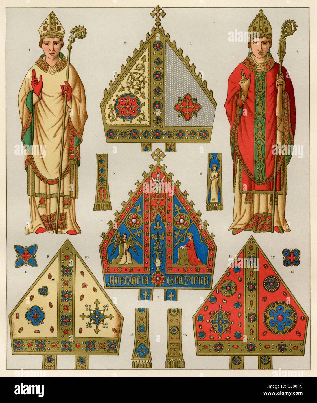 Ai vescovi del medio evo e loro le squadre data: Immagini Stock
